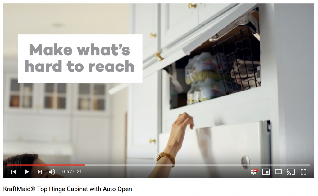 Video Kraftmaid 174 Top Hinge Cabinet With Auto Open